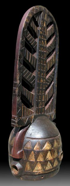 Africa | Helmet mask from the Bwa people of Burkina Faso | Wood and paint
