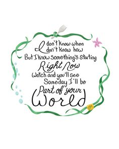 Little Mermaid Disney Princess Lyric Poster