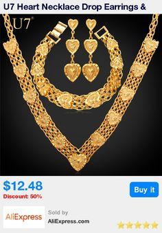 U7 Heart Necklace Drop Earrings & Bracelet Set For Women Gift Sale Yellow Gold Color Bridal Wedding Jewelry Sets Vintage S457 * Pub Date: 02:39 Jul 12 2017