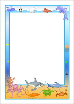Commotion in the Ocean A4 page borders (SB7535) - FREE @ SparkleBox
