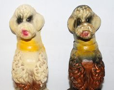 1950 POODLE Dogs, Figurines ,2 Begging poodle Chalkware ,Carnival Prizes,Poodles bookends,  chalk ware, prize, Midway , Midway Prize,