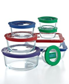 #Pyrex 16 Piece No Leak Storage Set with Vent Tab Lids -  Ready to conquer your prep & storage needs, this versatile set features airtight, no-leak brightly colored lids with microwave vent tabs that make heating & reheating safe and easy. In a variety of sizes, each durable glass container cleans up your kitchen routine by moving seamlessly from oven to dishwasher.