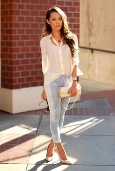 ModernEdge top, DailyLook denim and clutch, LoveStylize necklace, SimplyEyeglasses Burberry sunnies, Aldo heels, Heather Belle cuff