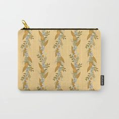 Perfect gift idea! It can be used for toiletries, art supplies, makeup and smaller electronics. Carry-all pouch is avilable in different sizes. | #pouch #society6 #murkydesign #pattern #patterndesign #floral #blossom #wreath #vertical #yellow Vintage Wreath, Art Supplies, Carry On, Pattern Design, Zip Around Wallet, Pouch, Wreaths, Electronics, Yellow