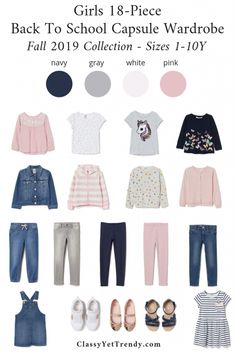 Girls Back To School Capsule Wardrobe: Fall 2019 Sizes + 9 Outfits - Classy Yet Trendy Source by barkerleann clothing Toddler Fashion, Toddler Outfits, Kids Outfits, Kids Fashion, Toddler Girls, Basic Outfits, Fashion Outfits, Back To School Outfits For Kids, School Girl Outfit