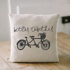 Handmade Better Together pillow by Parris Chic Boutique- gift for brides- wedding gift- tandem bike- photo by @jessalovelight