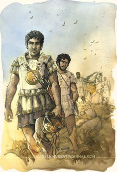 Hannibal dressed in helenistic style, carrying a iberian sword (falcata). Picture from Jenny Dolfen