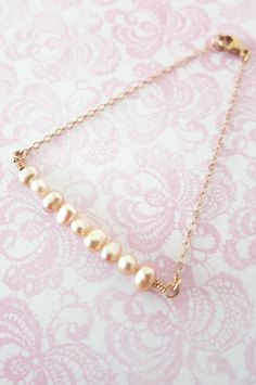 Simple Freshwater Pearls on Rose Gold bracelet