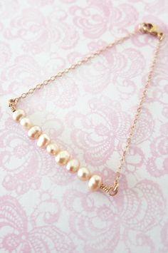 Simple Freshwater Pearls on Rose Gold bracelet