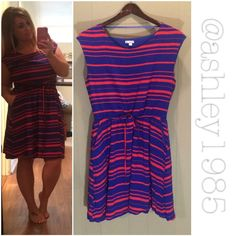"""GAP blue coral orange striped drawstring dress Blue and orange (coral maybe?) striped dress with drawstring waist tie and pockets. SO soft. Great material and quality. ***** I'm 5'0"""" for reference ***** GAP Dresses"""