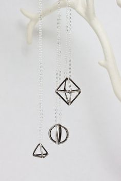 Geometric Sterling Silver Necklace by CSfootprints on Etsy, $40.00