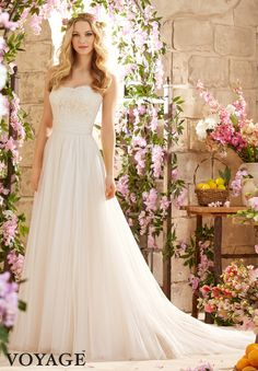 Wedding Dresses By Voyage featuring Alencon Lace on Soft Net Colors Available: White, Ivory, Champagne