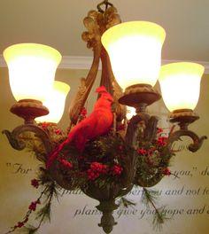My Christmas chandelier decor. Christmas bird decor.