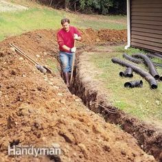 How to Achieve Better Yard Drainage Drain water away from your home and dry out your soggy yard with this in-ground system. Good system, but doesn't work in winter in cold regions. Backyard Drainage, Landscape Drainage, Drainage Ditch, Backyard Landscaping, Backyard Ideas, Garden Ideas, Gutter Drainage, Landscaping Design, Drain Français