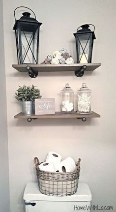 Darker shelves and a white vase instead of the tin can