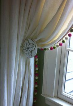 Muslin Curtain With Pom Pom Edge Pom Poms And Ball