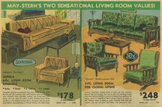 1967 Ad, May-Stern's, Living Room Furniture Ensemble Ad 1960s Furniture, Mid Century Furniture, Vintage Furniture, Outdoor Furniture Sets, Vintage Newspaper, Vintage Ads, Vintage Modern, 1960s Living Room, Welcome Winter