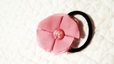 Pink fabric ponytail holder by unionmeg on Etsy