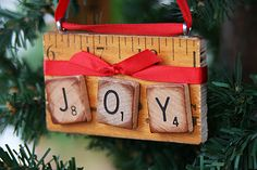 Old Yardstick Ornaments...with scrabble pieces & ribbon.