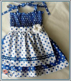 Blue and white polka-dot APRON dress for little girls-Size 3T-4T(Available in size 6 month to 6 years) toddlers  for baby girls photo prop. $25.00, via Etsy.
