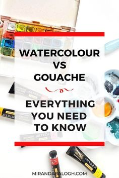 What is the difference between watercolour and gouache? In the watercolour vs gouache debate, which medium is easier? These are some of the questions that will be explored in this article which compares the pros and cons of each painting medium. So click here to learn about the similarities and differences between watercolour painting and gouache painting. As well, you'll learn about their unique properties so that you can combine both to create a lovely gouache and watercolour painting. Acrylic Painting Tutorials, Watercolour Tutorials, Painting Tips, Watercolor Beginner, Watercolor Tips, Gouache Color, Gouache Painting, Your Paintings, Beautiful Paintings