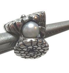 "Trollbeads ""Calendula of October"" 925 Silver with Freshwater Pearl Troll BEAD Calendula, Pandora Charms, Troll, Fresh Water, 925 Silver, Cufflinks, October, Bead, Pearls"