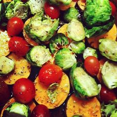 """""""Roasting sweet potatoes, cherry tomatoes & brussel sprouts with olive oil, rosemary, sea salt, pepper, balsamic, and mixing with sprouted quina."""""""