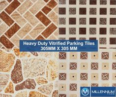 Millennium Tiles 305x305mm (12x12) Heavy-Duty Outdoor Vitrified...  Millennium Tiles 305x305mm (12x12) Heavy-Duty Outdoor Vitrified Full-Body Porcelain Parking Tiles Series  Aesthetics strength practically  - Acid/Alkali Resistant - Anti Skid - Fire Resistant - Stain Resistant - Certifications: ISO 9001:2008 ISO 14001:2004 CE  - Full-Body Tiles - Soluble & Parking Series: Keeps the aesthetic value of the product intact even under extreme conditions like chipping scratching and fading in…