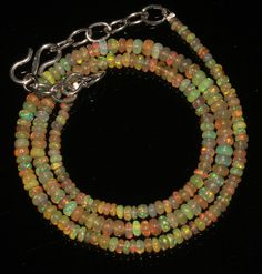 """30 Ctw 1Necklace 2to4mm 16"""" Beads Natural Genuine Ethiopian Welo Fire Opal 95084"""