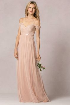 89b877bbd86 Off the Shoulder Blush Lace Bodice Tulle Bridesmaid Dress with Ribbon