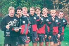 Beckham (fourth right) was part of a youth class also including Ryan Giggs, Nicky Butt, Gary and Phil Neville, Paul Scholes and Terry Cooke.