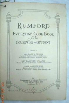 Rumford Everyday Cook Book For The Housewife And Student - in spuddled's Book Collector Connect collection
