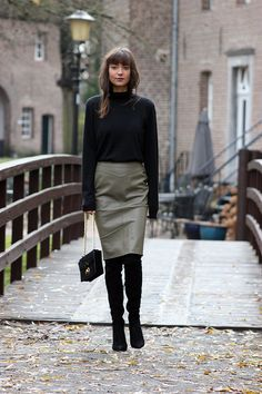 I'm wearing; RALPH LAUREN Collection turtleneck, SALLY BLUE leather pencil skirt, TED & MUFFY suede over-the-knee boots, RALPH LAUREN Collection