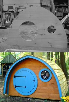 Before & After: Hobbit Hole Playhouse by Wooden Wonders Hobbit Hole, The Hobbit, Hobbit Playhouse, Corner Garden, Playground Ideas, Kid Spaces, Hobbies And Crafts, Play Houses, Kid Stuff