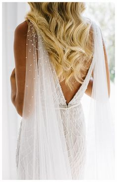 wedding dress inspirations -> Create your caterer knows you want an outdoor wedding celebration. You really should inform your caterers to brings some stylish covers for dishes. You might want to have got a bar fridge to keep the drinks cold. Dream Wedding Dresses, Bridal Dresses, Wedding Gowns, Bridesmaid Dresses, Wedding Cape Veil, Backless Wedding, Boho Wedding, Crystal Wedding, Bridal Cape