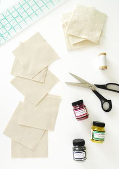 Dyes and Organic Twill Fabric To Create Coasters