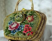 Haute Couture Purse, Vintage embroidered basket  purse with vintage compact mirror, One of a Kind Fabulous, LAYAWAY PLANS