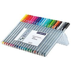 Staedtler® Triplus Fineliner Porous Point Pens, 0.3 mm, Fine Point, Gray Barrel, Assorted Ink, Pack Of 20