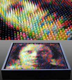 """Wow...crayon art.  If I did do a """"crayon"""" theme in my youngest's room, when he was a teen I could update it to something like this (only simpler...not sure if I could do a face)...and keep the dripping crayon."""