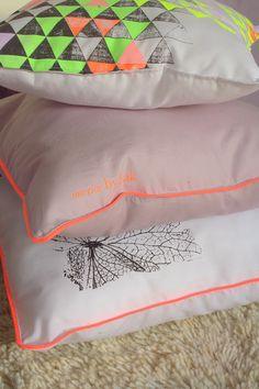 a touch of neon, i like ~ Pillows from interior by.bak - in the shop: www.bybak.bigcartel.com