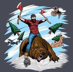 Beard lumberjack bear and axes