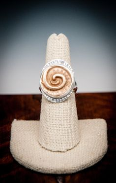 Bronze Swirl with Silver Band Ring