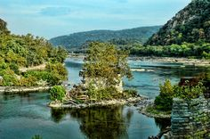 At the confluence of the Potomac and Shenandoah Rivers at Harpers Ferry, West Virginia, USA, lie the remains of an old bridge foundation.