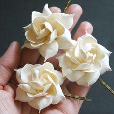 Ivory gardenia - bridal flower clip, Bridal flower hair pin, Bridal hair flower, Wedding hair pins, Bridal  flower pin, Flower hair pins,