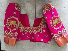 Sparkling Fashion Best Blouse Designs, Bridal Blouse Designs, Blouse Neck Designs, Simple Embroidery Designs, Maggam Work Designs, Pattu Saree Blouse Designs, Viera, Work Blouse, Maggam Works