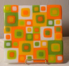 Original Fused Glass Art by Cathy Thompson.  Retro Orange square plate.