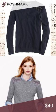 b2a0fe9b08d67 J. Crew Jeweled Shoulder Sweater Wool Cashmere J. Crew Jeweled Shoulder  Sweater Wool Cashmere