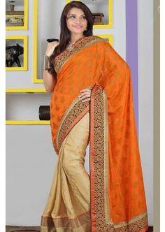 orange, saree viscose, - 89,00 €, #RobePakistanaise #TenurBollywood #RobeIndiennePasCher #Shopkund