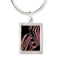 Pink Zebra Silver Portrait Necklace on CafePress.com