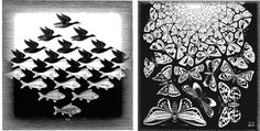 Left: M.C.Esher - Sky Water / Right: M.C.Escher - Butterflies. Images via wikimedia.org